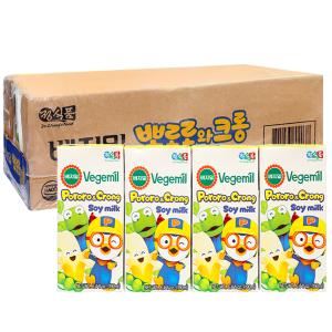 Thùng 24 hộp sữa đậu nành hương chuối Vegemil Pororo & Crong 190ml