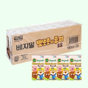 Thùng 24 hộp sữa đậu nành hương socola Vegemil Pororo & Loopy 190ml