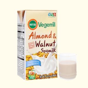 Sữa đậu nành vị hạnh nhân và óc chó Vegemil hộp 190ml