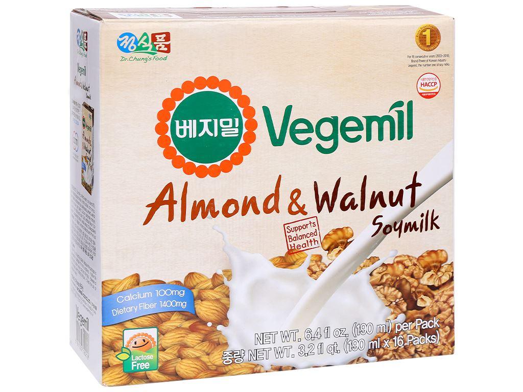 Thùng 16 hộp sữa đậu nành vị hạnh nhân và óc chó Vegemil 190ml 1