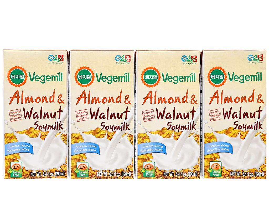 Thùng 16 hộp sữa đậu nành vị hạnh nhân và óc chó Vegemil 190ml 2