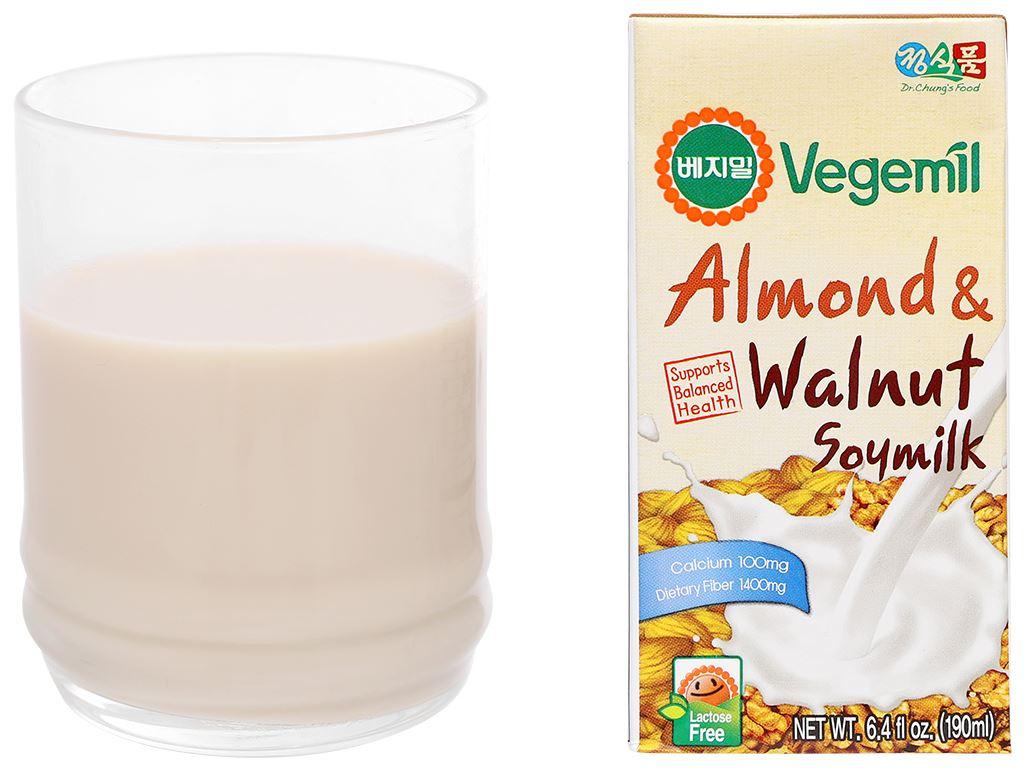 Thùng 16 hộp sữa đậu nành vị hạnh nhân và óc chó Vegemil 190ml 10