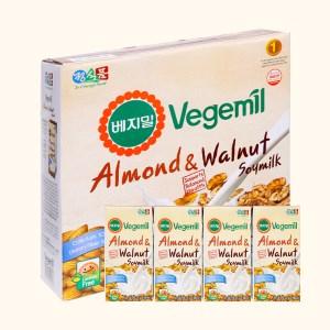 Thùng 16 hộp sữa đậu nành vị hạnh nhân và óc chó Vegemil 190ml
