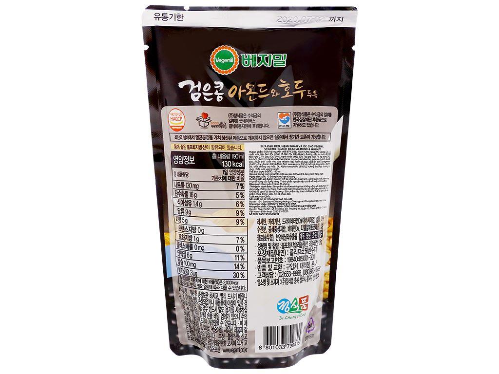 Sữa đậu đen, hạnh nhân và óc chó Vegemil bịch 190ml (chứa 100mg calcium) 2
