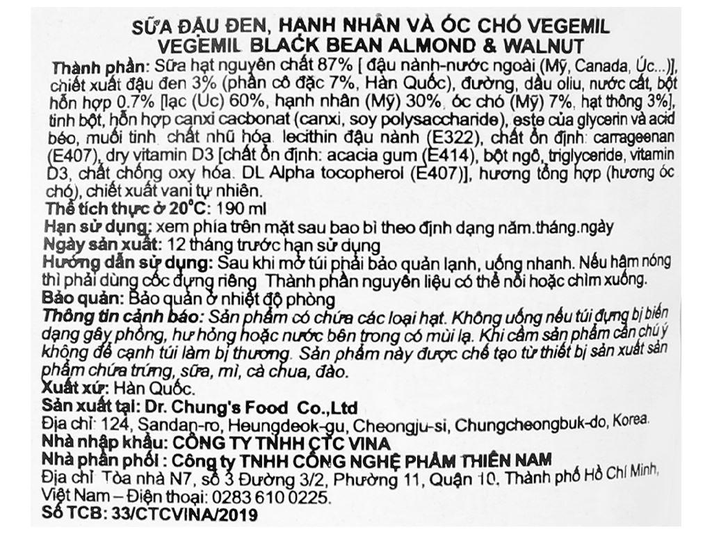 Sữa đậu đen, hạnh nhân và óc chó Vegemil bịch 190ml (chứa 100mg calcium) 3