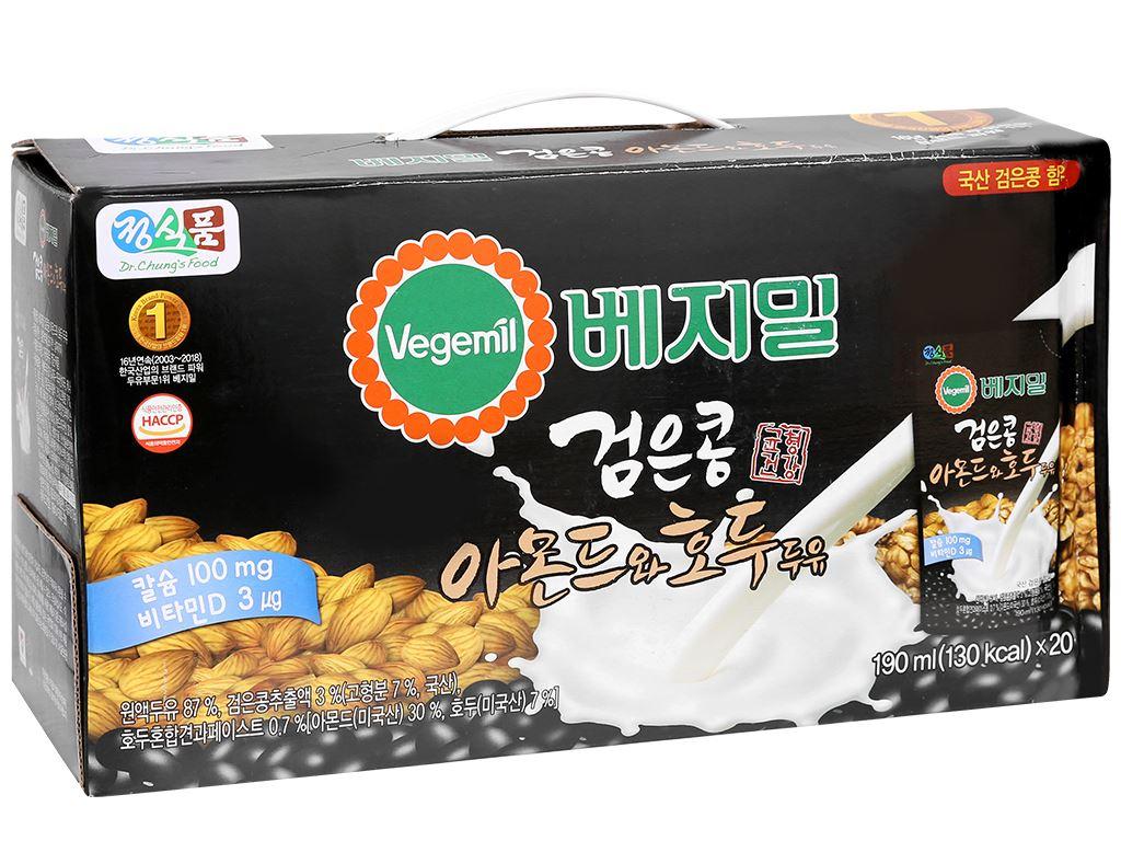 Thùng 20 bịch sữa đậu đen, hạnh nhân và óc chó Vegemil 190ml (chứa 100mg calcium) 1