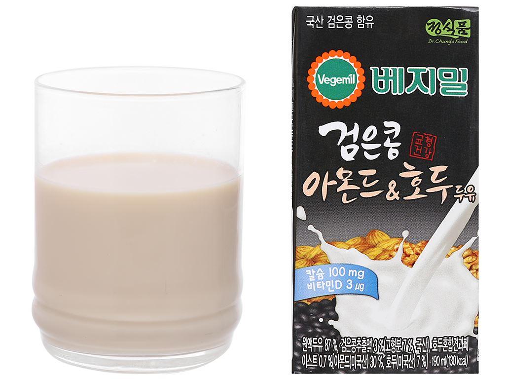 Sữa đậu đen, hạnh nhân và óc chó Vegemil hộp 190ml (chứa 100mg calcium) 6