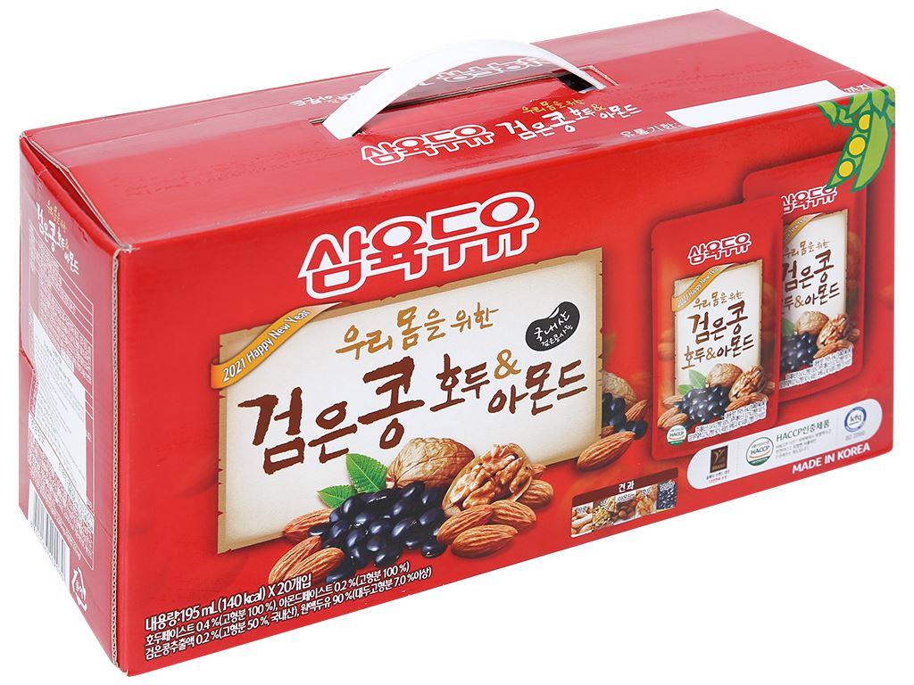 Thùng 20 bịch sữa đậu đen óc chó hạnh nhân Sahmyook 195 ml 1