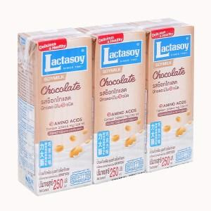 Lốc 3 hộp sữa đậu nành socola Lactasoy 250ml