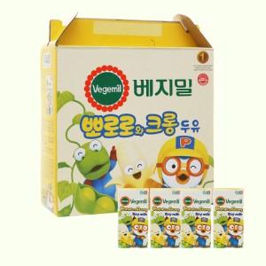 Thùng 16 hộp sữa đậu nành hương chuối Vegemil Pororo & Crong 190ml