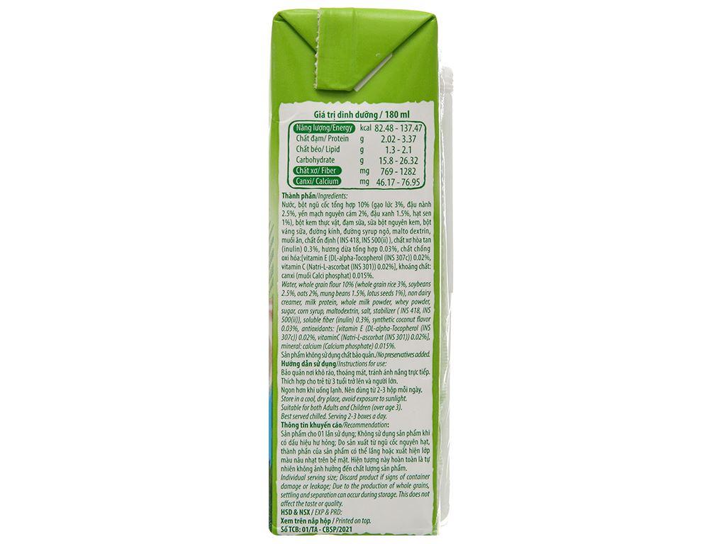 Thùng 40 hộp thức uống ngũ cốc dinh dưỡng dừa Việt Ngũ Cốc 180ml 7