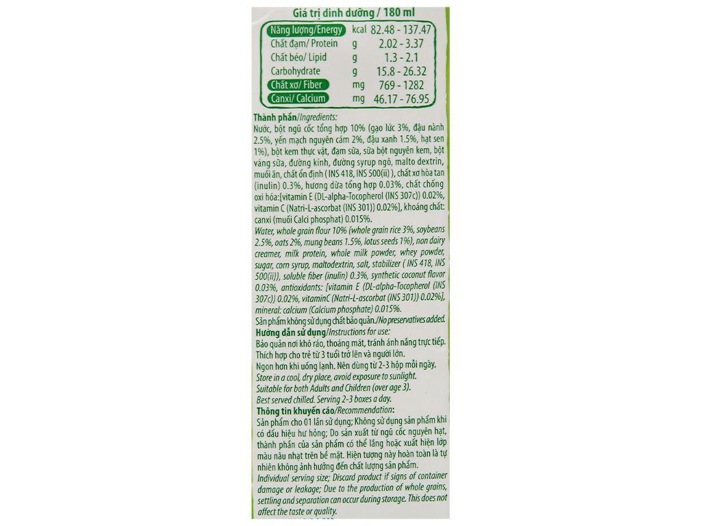 Thùng 40 hộp thức uống ngũ cốc dinh dưỡng dừa Việt Ngũ Cốc 180ml 9
