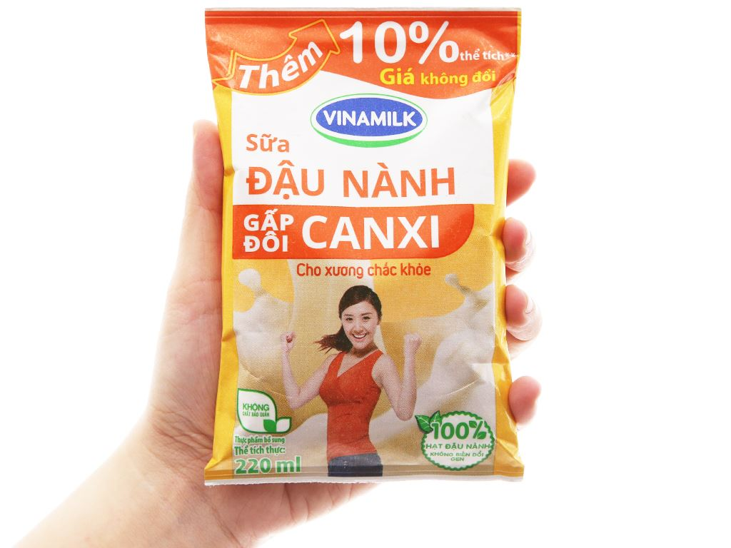 Sữa đậu nành Vinamilk Gấp đôi canxi bịch 220ml 5
