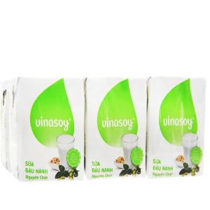 Lốc 6 hộp Sữa đậu nành Vinasoy nguyên chất 200ml