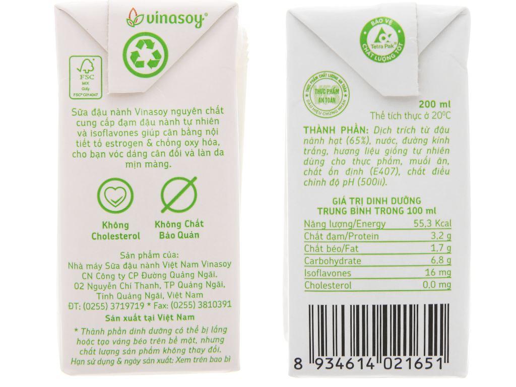 Lốc 6 hộp Sữa đậu nành Vinasoy nguyên chất 200ml 7