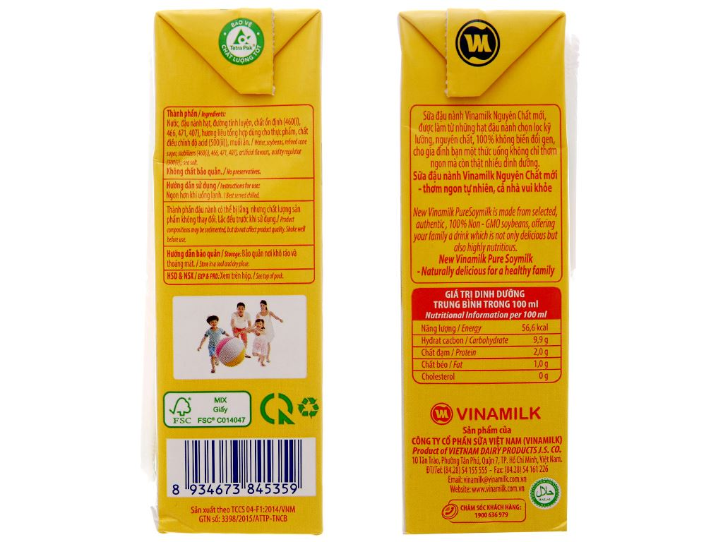 Lốc 4 hộp Sữa đậu nành Vinamilk nguyên chất 200ml 5