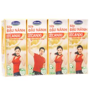 Lốc 4 hộp Sữa đậu nành Vinamilk Gấp đôi canxi 200ml