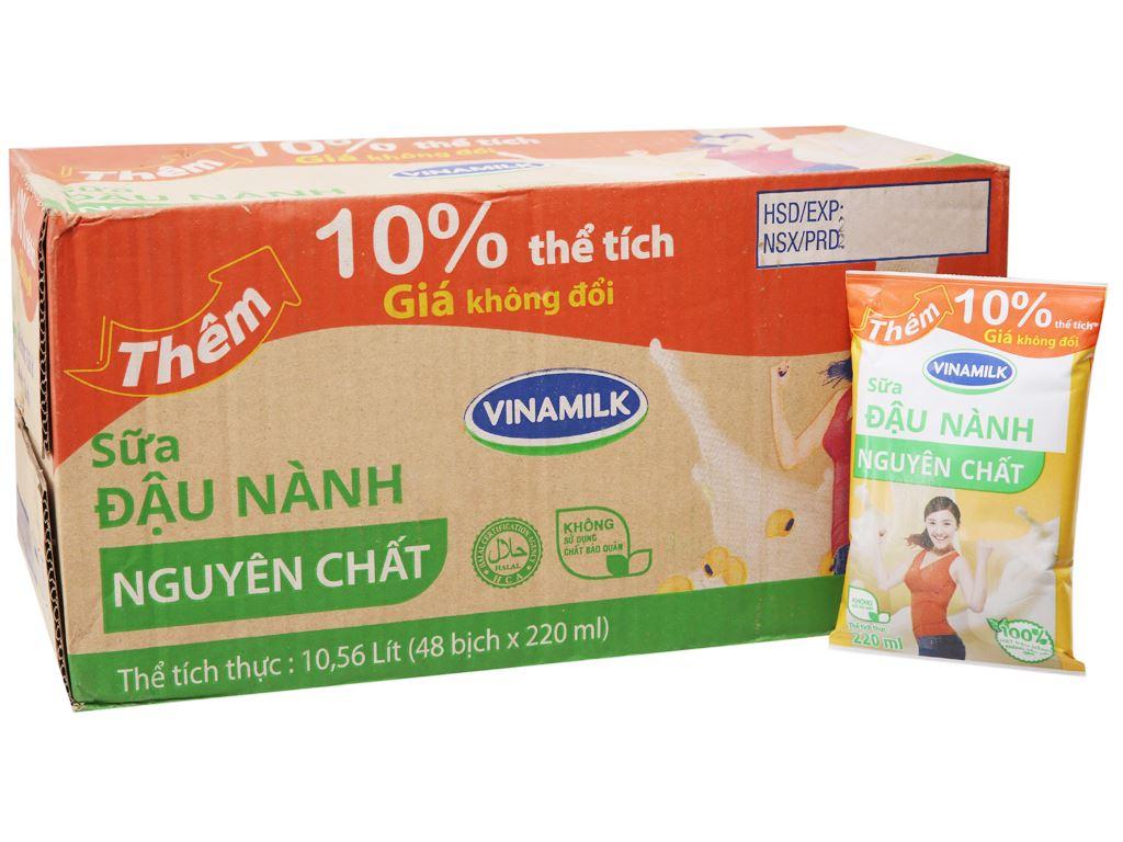 Thùng 48 bịch sữa đậu nành nguyên chất Vinamilk 220ml 2