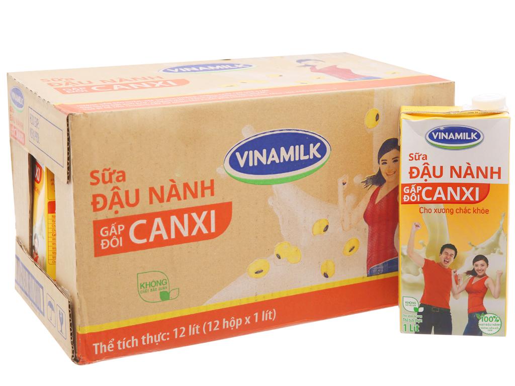 Thùng 12 hộp sữa đậu nành Vinamilk gấp đôi canxi 1 lít 2