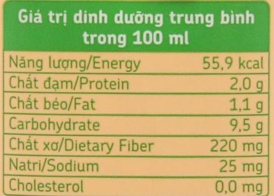 Giá trị dinh dưỡng sữa đậu nành Fami nguyên chất có đường hộp 200ml