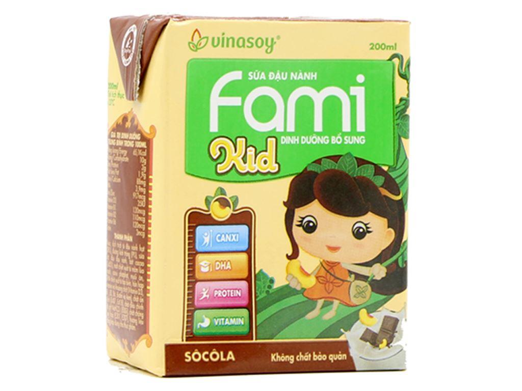Thùng 36 hộp Sữa đậu nành Fami Kid sô cô la 200ml 2