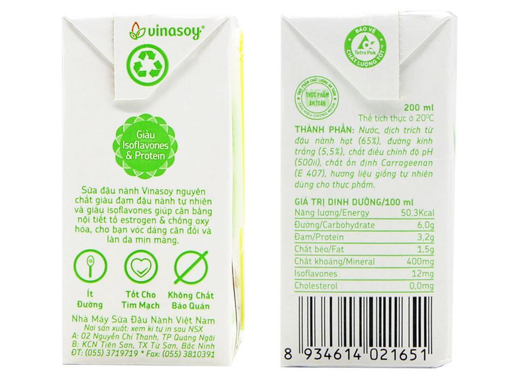 Thùng 36 hộp Sữa đậu nành Vinasoy nguyên chất 200ml 3