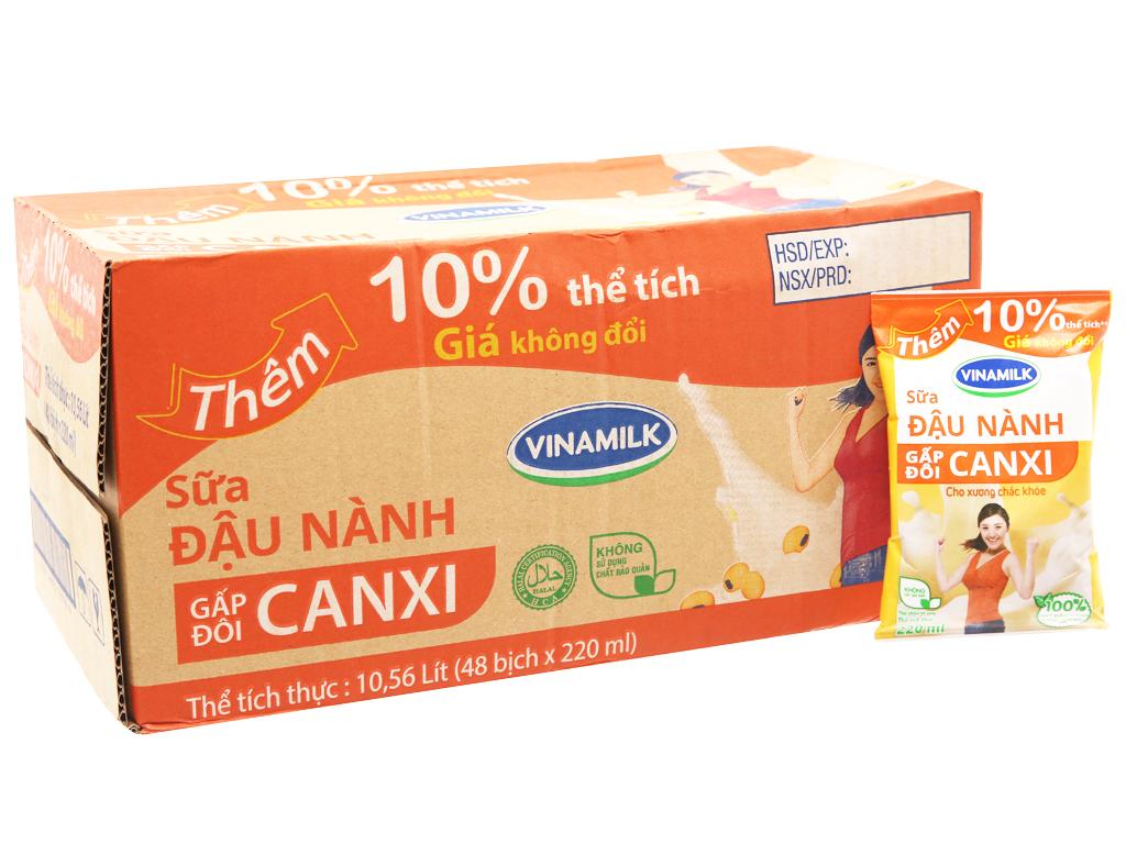 Thùng 48 bịch Sữa đậu nành Vinamilk Gấp đôi canxi 220ml 1