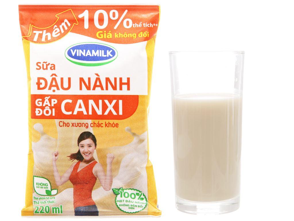 Thùng 48 bịch Sữa đậu nành Vinamilk Gấp đôi canxi 220ml 2