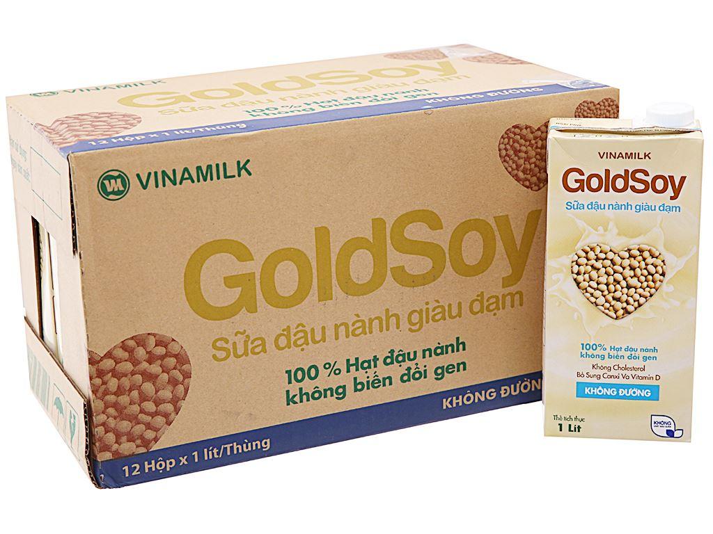 Thùng 12 hộp Sữa đậu nành Vinamilk Goldsoy không đường 1 lít 2