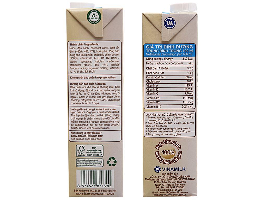 Thùng 12 hộp Sữa đậu nành Vinamilk Goldsoy không đường 1 lít 5