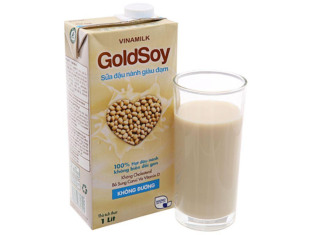 Thùng 12 hộp Sữa đậu nành Vinamilk Goldsoy không đường 1 lít 3