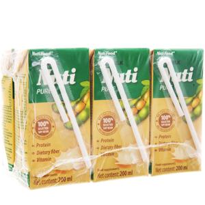 Lốc 6 hộp Sữa đậu nành Nuti nguyên chất 200ml