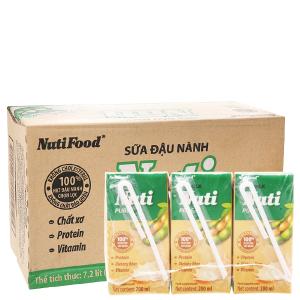 Thùng 36 hộp Sữa đậu nành Nuti nguyên chất 200ml