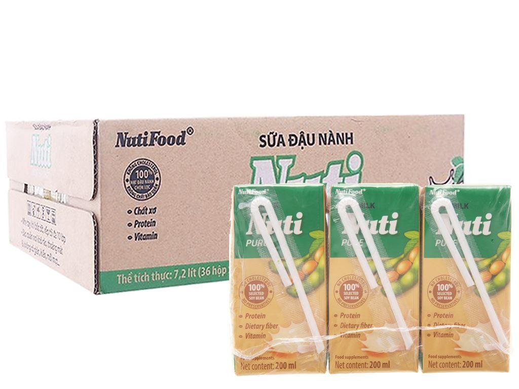 Thùng 36 hộp Sữa đậu nành Nuti nguyên chất 200ml 1