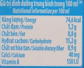 Bảng giá trị dinh dưỡng sữa chua uống Susu vị dâu chai 80ml