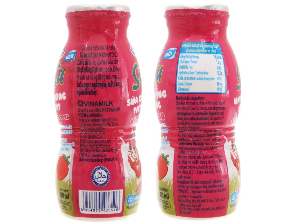 Lốc 4 chai sữa chua uống SuSu dâu 80ml 4