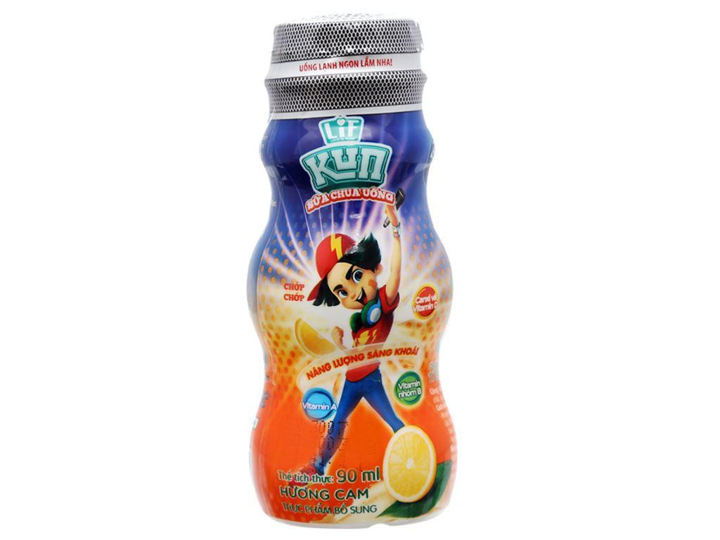 Thùng 48 chai sữa chua uống LiF Kun cam 90ml 2