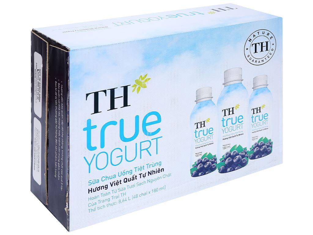 Thùng 48 chai sữa chua uống hương việt quất TH True Yogurt 180ml 1