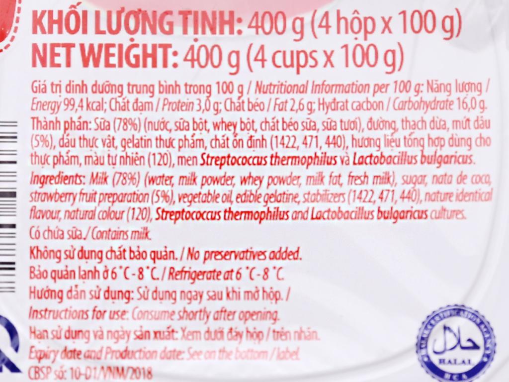 Sữa chua Vinamilk lên men tự nhiên dâu hộp 100g 4