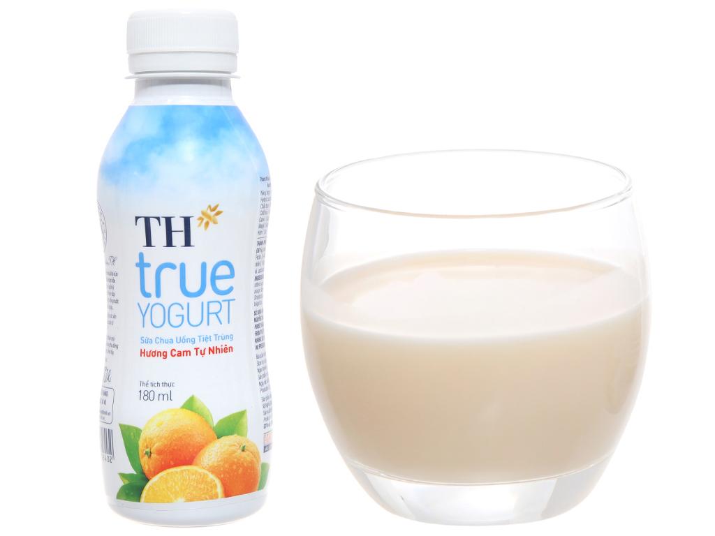 Lốc 4 chai sữa chua uống TH True Yogurt hương cam tự nhiên 180ml 4