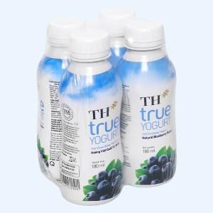 Lốc 4 chai sữa chua uống hương việt quất TH True Yogurt 180ml