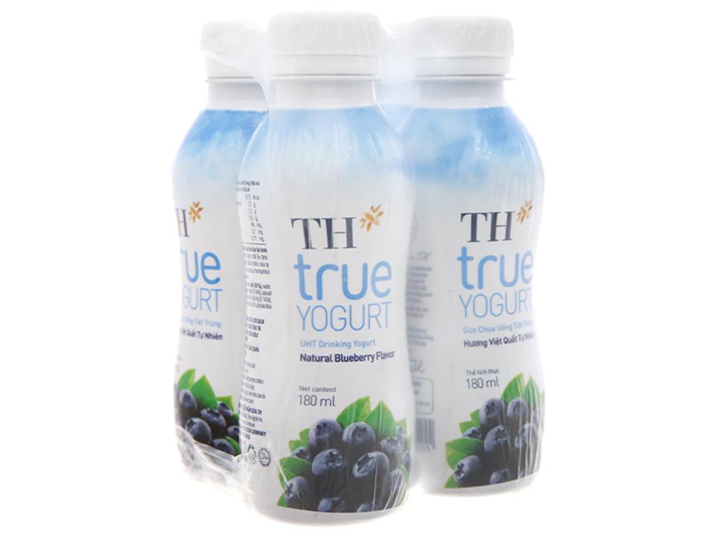Lốc 4 chai sữa chua uống TH True Yogurt việt quất 180ml 4