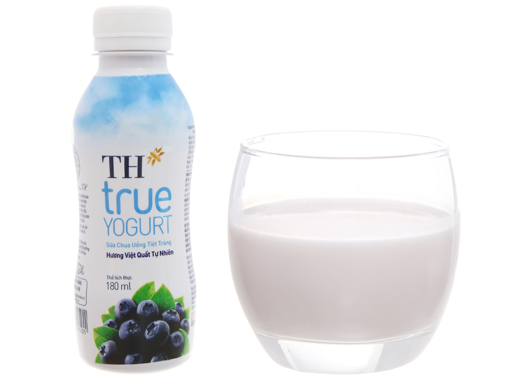 Lốc 4 chai sữa chua uống TH True Yogurt việt quất 180ml 7