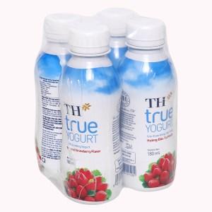 Lốc 4 chai sữa chua uống hương dâu TH True Yogurt chai 180ml