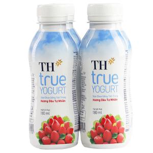Lốc 4 chai sữa chua uống TH True Yogurt dâu chai 180ml