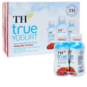 Thùng 48 chai sữa chua uống hương dâu TH True Yogurt 180ml
