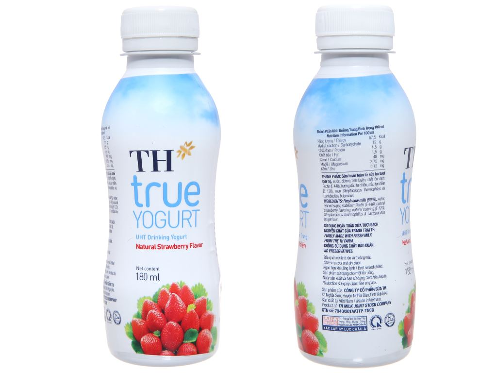 Thùng 48 chai sữa chua uống TH True Yogurt dâu chai 180ml 3