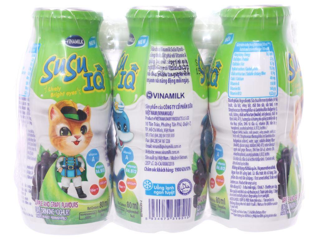 Lốc 6 chai sữa chua uống SuSu IQ hương táo nho 80ml 2