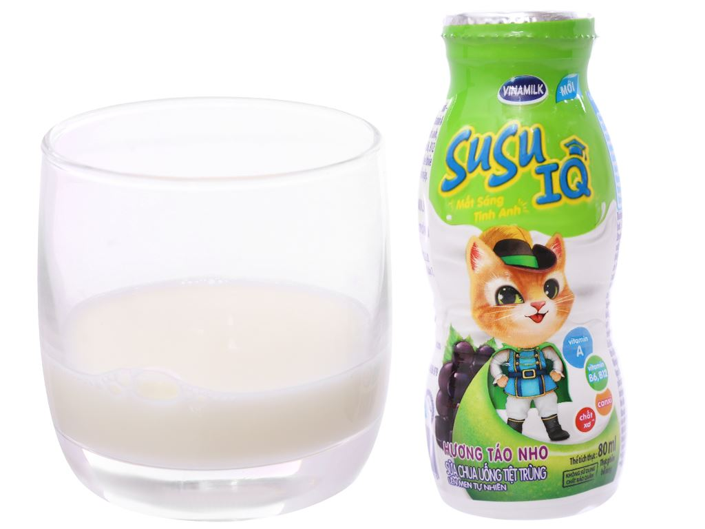Lốc 6 chai sữa chua uống SuSu IQ hương táo nho 80ml 3