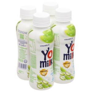 Lốc 4 chai sữa chua uống nha đam Vinamilk Yomilk 150ml